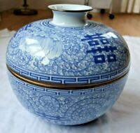 BIG RARE VINTAGE GINGER JAR LID Chinoiserie Blue White Floral CHINESE PORCELAIN
