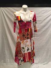 NWT Women's Stunning RONEN CHEN Floral Marion Wrap Dress 3/4 Sleeve Israel Sz 1