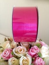 ORGANZA WIDE HOT PINK SHEER RIBBON 50mm x 50 METRES EXTRA LARGE ROLL TOP QUALITY