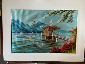 Pagoda Mountain Lake Landscape  - Japanese Silk Embroidered  Painting - Unframed