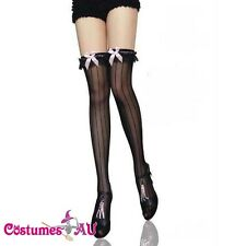 New Lingerie Hosiery Black vertical stripe thigh high Stockings one size
