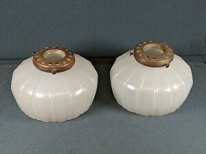 2) QUALITY ANTIQUE IRIDESCENT SHADES WALL SCONCE SCREW-ON BRASS FITTERS