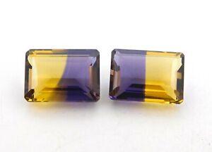 30.0 Cts 2 Pcs Hydro Ametrine Octagon Cut Loose Gemstone Size 13 X 18 MM P-556