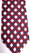 "Liberty of London Men's Silk Tie 58"" X 4"" Cream/Burgundy/Navy Criscross"