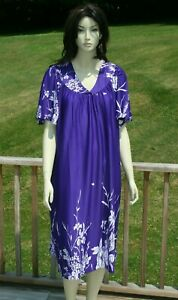 Women's Plus Size MuMu Lingerie Short Nightgown House Dress 2X 3X 4X  Purple