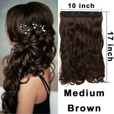 "17"" Real Natural Clip in HAIR EXTENTIONS 3/4 Full Head 5 Clips Wavy Medium Brown"