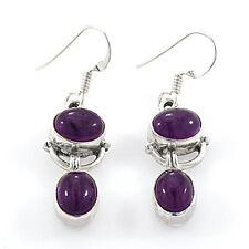 Dark Purple Amethyst Double Stone Droplet Earrings set in Sterling Silver