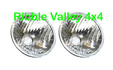 "RTC4615C 7"" LAND ROVER DEFENDER CRYSTAL HALOGEN HEADLIGHTS PAIR WIPAC W/O BULB"