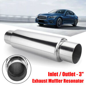 3'' Inlet Outlet Turbo Exhaust Muffler Tail Pipe Resonator Stainless Steel AU