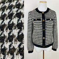 ANN TAYLOR Shimmer Houndstooth Blazer Jacket XXS Tweed Metallic Gold Bomber