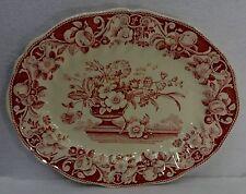 "ROYAL DOULTON china POMEROY RED pattern Oval Serving Platter - 13-1/2"""