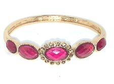 Vintage Style Glass Stone Gold & Dark Pink Bangle Bracelet