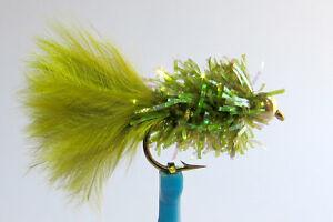 1 x Mouche de peche Streamer Blob Olive BILLE H8/10/12 mosca fly tying truite