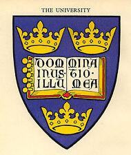 Oxford, la Universidad, Escudo De Armas Antiguo montado listo impresión 1929 Excelente