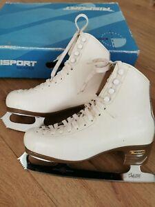 "Risport Laser Leather Ice Skates Sheffiel MK Club 2000 10"" blades Size 260 UK5.5"