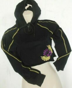 CAPEZIO FRONTLINE BLACK CROPPED HOODIE ADULT SZS HIPHOP DANCE winged heart cover