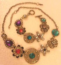 SET Muli colour crystal antique gold colour matching necklace bracelet GIFTBOXED