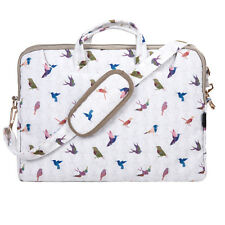 "TaylorHe 15.6"" Canvas Laptop Shoulder Bag Carry Case Handles Strap Birds"