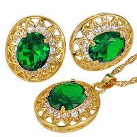 Women Party Elegant Oval Cut Gold Plated Necklace Pendant Earrings Jewellery Set
