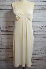 Vintage Shadowline Ivory Dress Slip Lingerie Floral Lace Size 36