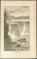 1892 - Gravure vue des chutes du Niagara - Canada