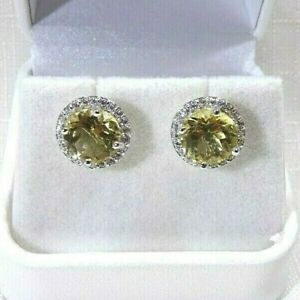 5.74ct Natural Citrine & Cubic Zirconia Solid Sterling Silver Halo Stud Earrings