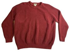 LL Bean Mens Red 100% Cotton Sweater Raglan Sleeve Heavy Knit Size XL
