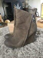 ASH SUEDE LEATHER HIDDEN WEDGE ANKLE BOOTS BROWN EU 39 UK 6