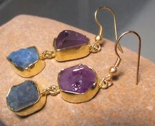 14K Gold plated brass rough amethyst and apatite earrings.