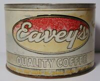 Rare Vintage 1950s EAVEY COFFEE KEYWIND COFFEE TIN ONE POUND RICHMOND INDIANA