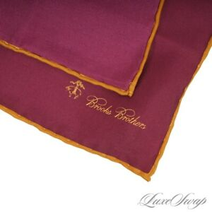 NWT #1 MENS Brooks Brothers Bordeaux Solid Antique Gold Piped Silk Pocket Square