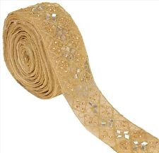 Indian Hand Beaded Bridal Dress Border 9 YD Trim Ribbon Golden Craft Lace