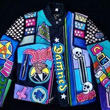 "Women's Studded Punk Rock Painted Vtg Leather Motorcycle/Biker Jacket XS 32"""