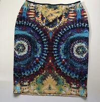 Bisou Bisou Pencil Skirt Tie Dye Pattern Elastic Waist L