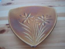 Zier-Keramikschale KALAMKA  dreieckig braun glasiert 17 cm lang