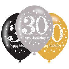 6 X 30 Globos De Cumpleaños Negro Plata Oro Decoraciones Edad 30 Globos