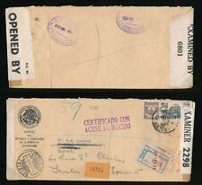 MEXICO OFFICIAL MIXED STAMP + METER FRANKING WW2 REGISTERED DOUBLE CENSORED 1942