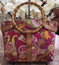 Ralph Lauren Bamboo Handle Pink Multi Floral Canvas Leather Purse EUC! MSRP $108