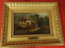 Superbe paysage, chateau, XIXème siècle, huile sur panneau, Decamps , cadre doré