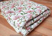 Indian Handmade Fabric Floral 3 Yard Cotton Craft Hand Block Print Voile Running