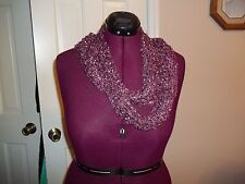 NOELLE WINDOW PANE SHIMMER SCARF PLUM/WINE LIGHTWEIGHT SCARF ONE SIZE FITS ALL