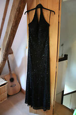 Vintage Sequin-bead Classic Ladies Black Evening / Occasion Dress size 12 - 13
