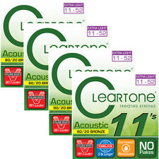 4 Sets of Cleartone 7611 Acoustic Guitar Strings, 80/20 Bronze (11-52)