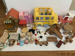 Maple Town Calico Critter Lot Playground School Bus Furniture Figures Vehicles +