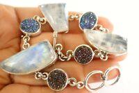 Rainbow Moonstone Blue Titanium Druzy Drusy 925 Sterling Silver Bracelet