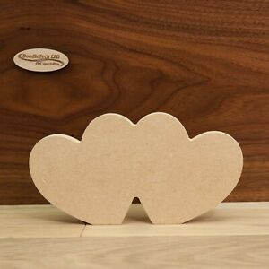 Freestanding MDF Slanted Double Heart 18mm Thick, Wooden, Shape, Craft 20cm Wide