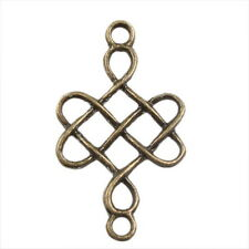 80x Bronze Chinese Knot Connector Charms Pendant 140554