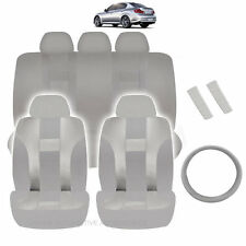 NEW ALL GRAY POLYESTER SEAT COVERS & STEERING COMBO 12PC SET FOR CARS 2323