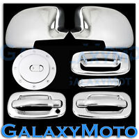 99-06 Chevy Silverado Chrome Mirror+2 Door handle w/o PSG KH+Tailgate+GAS Cover