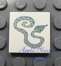 NEW Lego BLUE & GOLD SNAKE 2x2 White Printed FLAT TILE Green Eyes Serpent Animal